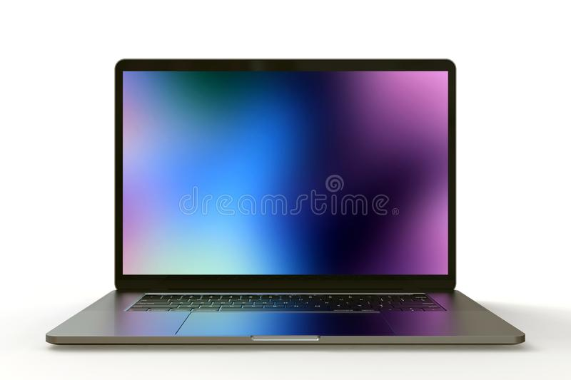 MacBook Pro space grey similar laptop computer, front view royalty free illustration