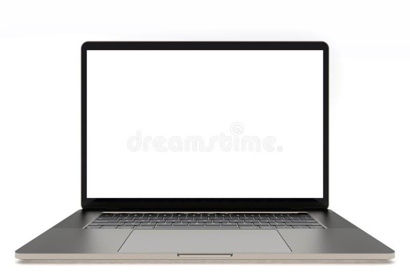 MacBook Pro space grey similar laptop computer, front view stock illustration
