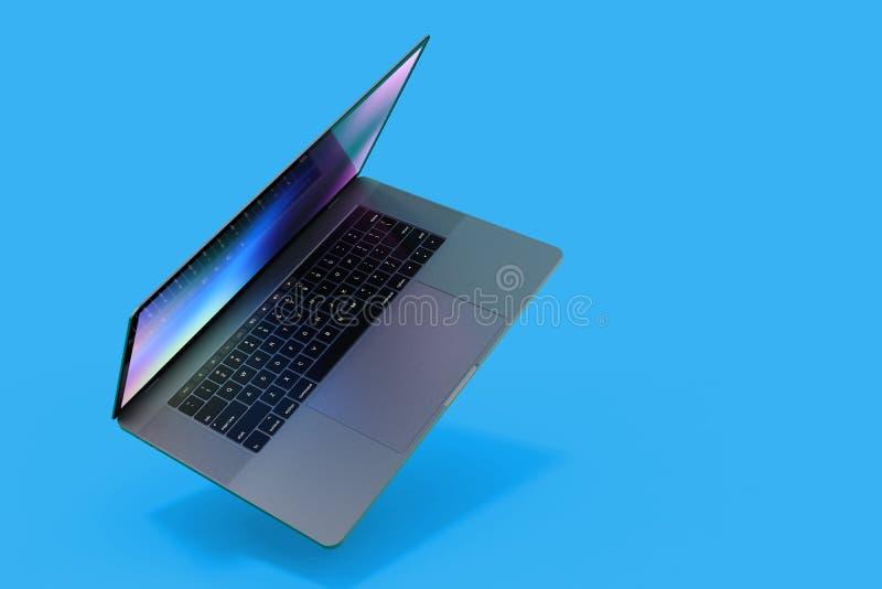 MacBook Pro style laptop computer falling vector illustration