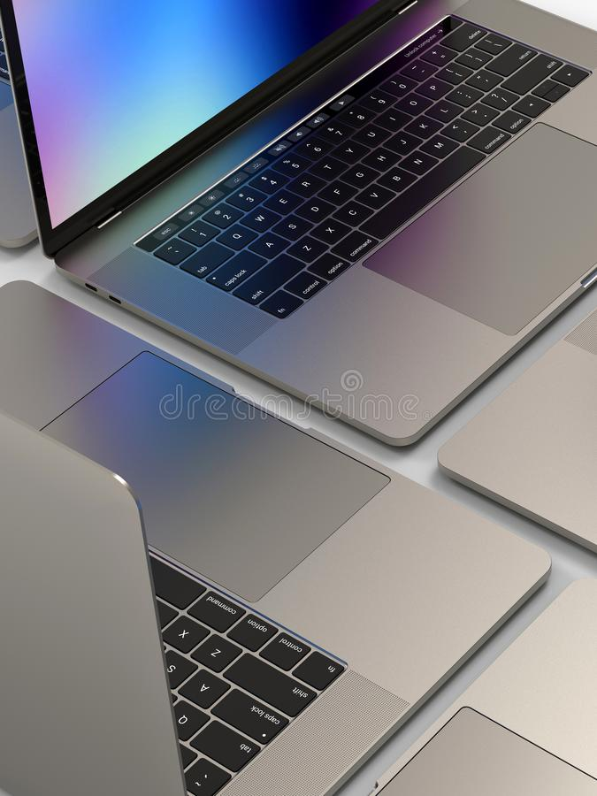 MacBook Pro style laptop computers, composition. Laptop computers, similar to MacBook Pro 2018 15 inch, silver, mosaic composition arrangement on a white royalty free stock images