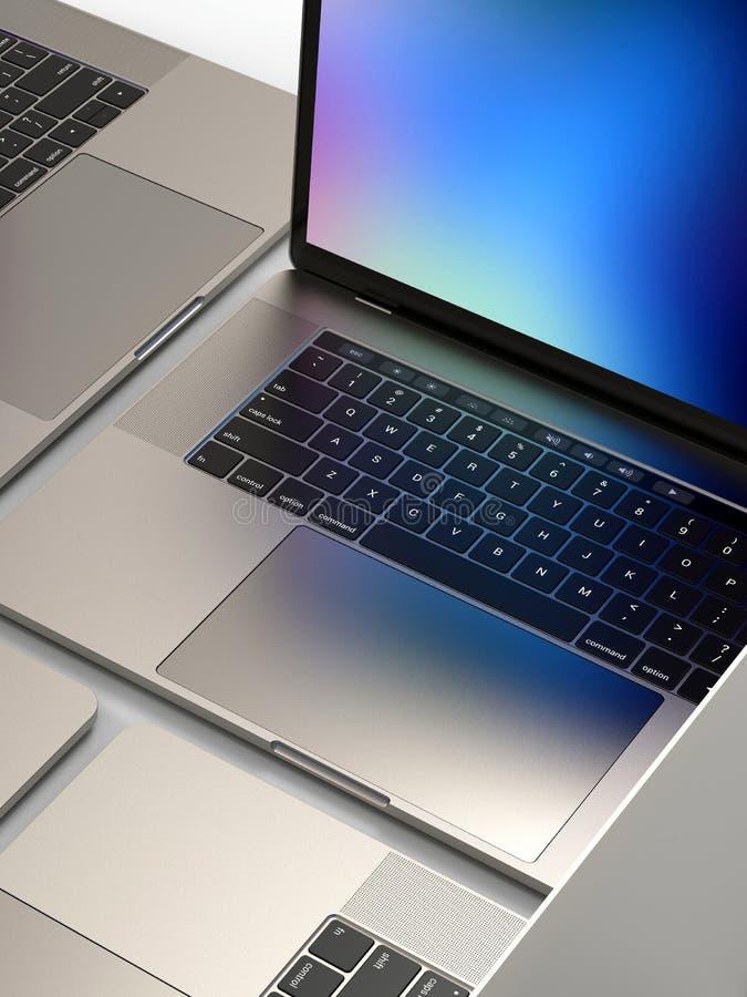 MacBook Pro style laptop computers, composition. Laptop computers, similar to MacBook Pro 2018 15 inch, silver, mosaic composition arrangement on a white stock photos