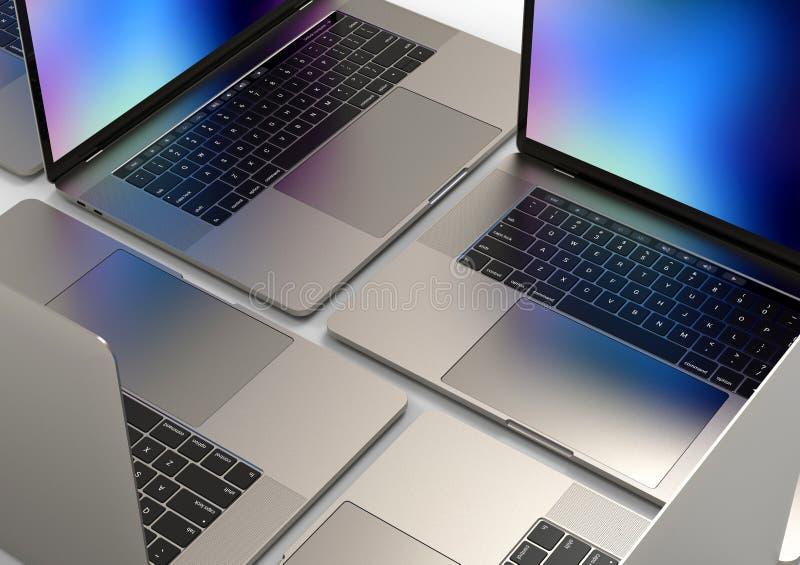 MacBook Pro style laptop computers, composition. 4 Laptop computers, similar to MacBook Pro 2018 15 inch, silver, mosaic composition arrangement on a white stock photo