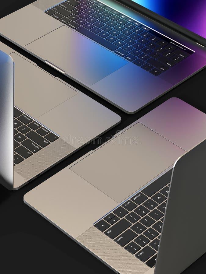 MacBook Pro style laptop computers, composition. 3 Laptop computers, similar to MacBook Pro 2018 15 inch, silver, mosaic composition arrangement on a black stock photo