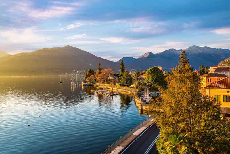 Maccagno on lake Maggiore, province of varese, Italy stock photography
