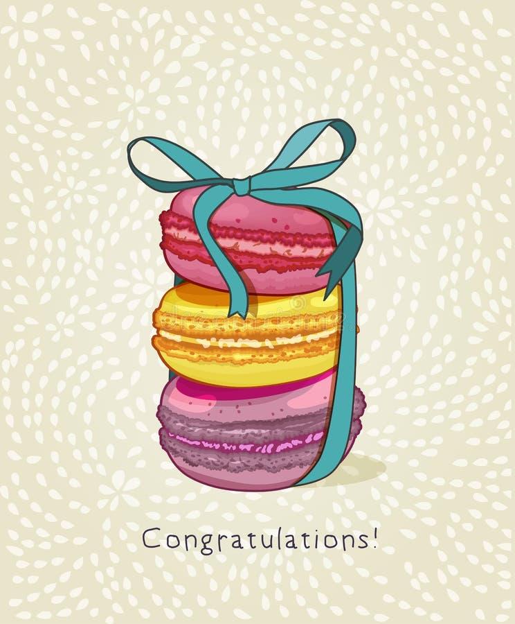 maccherone Manifesto con i dolci, i bigné e le bacche francesi tradizionali del maccherone nello stile d'annata Retro scheda royalty illustrazione gratis