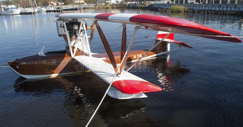 1917 Macchi Replica Seaplane. A replica of a 1917 Macchi Italian warplane is mored at a marina in Bridgeton ,North Carolina stock photo