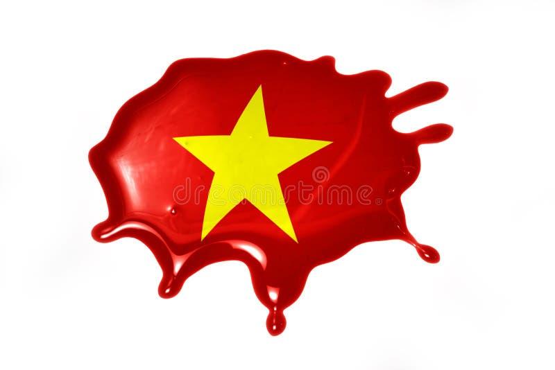 Macchia con la bandiera nazionale del Vietnam fotografie stock
