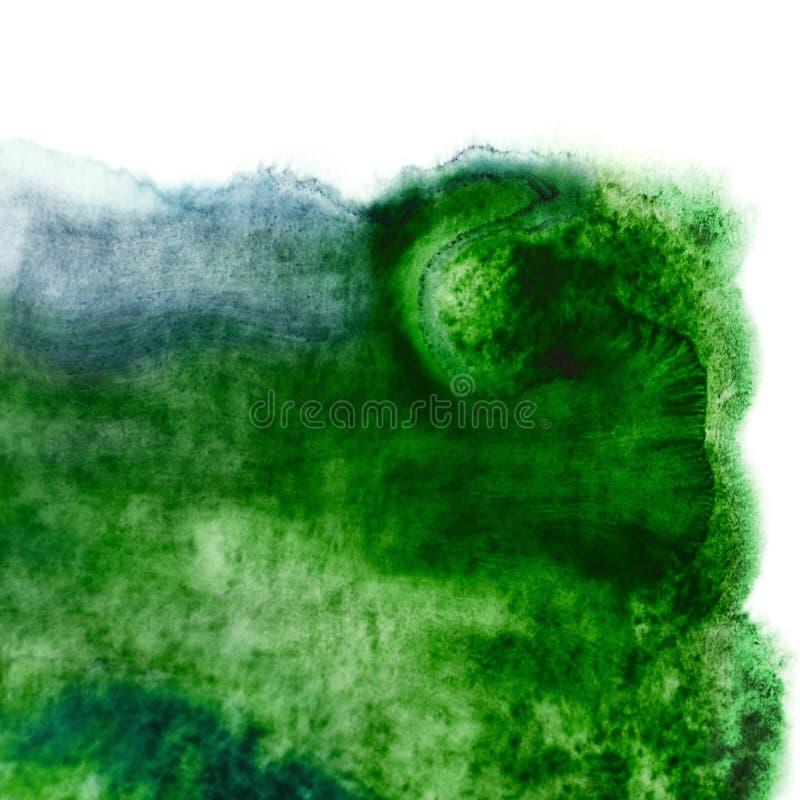 Macchia di colore verde dell'acquerello o struttura del punto Macchie bagnate fluide con le gocce fotografia stock libera da diritti
