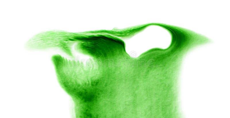 Macchia di colore verde dell'acquerello o struttura del punto Macchie bagnate fluide con le gocce immagini stock