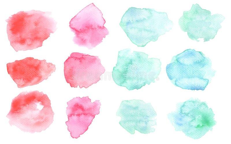 Macchia di interruzione dell'acquerello nel rosa e nel colore blu Macchie acquerelle isolate su fondo bianco Colore e pendenza de illustrazione di stock
