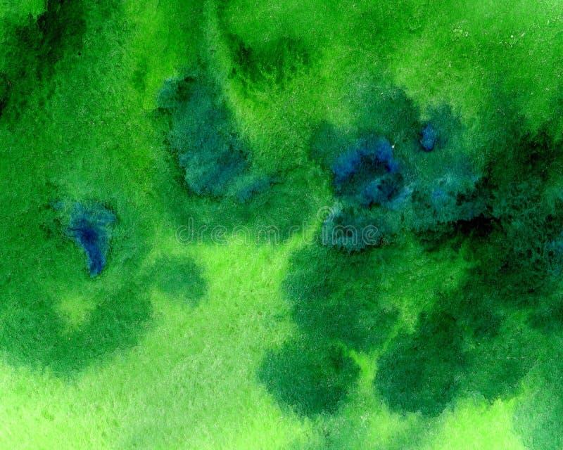 Macchia dipinta a mano del fondo dell'acquerello verde astratto con gli elementi blu illustrazione vettoriale