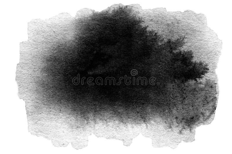 Macchia disegnata a mano del nero dell'acquerello illustrazione di stock