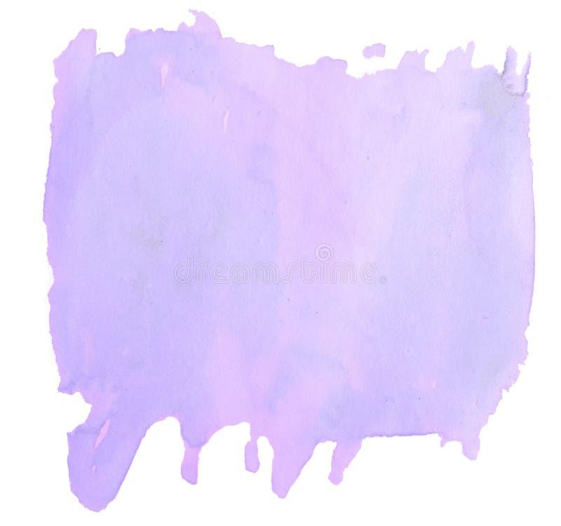 Macchia isolata disegnata a mano del lavaggio dell'acquerello pastello lilla su fondo bianco royalty illustrazione gratis