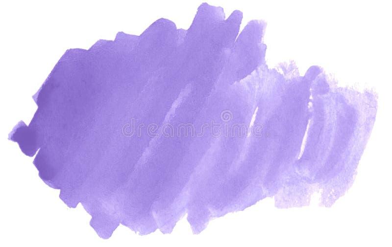 Macchia isolata disegnata a mano del lavaggio dell'acquerello pastello lilla su fondo bianco per testo, progettazione Struttura a immagine stock libera da diritti