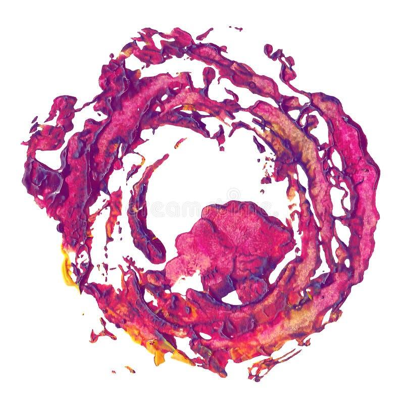 Macchia rosa porpora dell'estratto del magenta fatta dal fiore della pianta dell'impronta della pittura fotografie stock