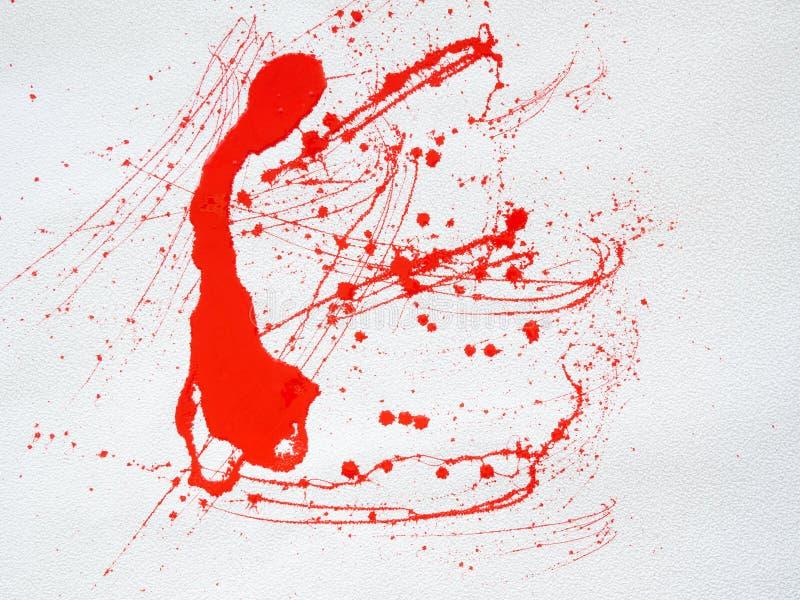 Macchia rossa e schizzare pittura su fondo bianco royalty illustrazione gratis