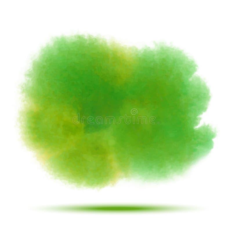 Macchia trasparente di vettore dell'acquerello della molla verde intenso isolata su fondo bianco royalty illustrazione gratis
