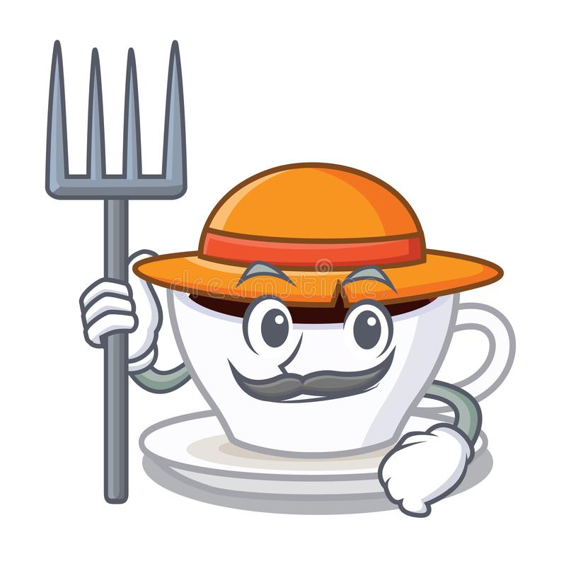 Macchiato do latte do fazendeiro isolado com a mascote ilustração royalty free