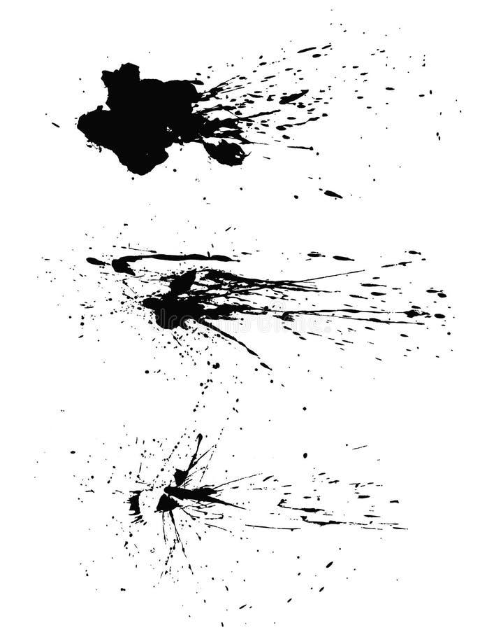Macchie degli splats della pittura isolate su fondo bianco royalty illustrazione gratis