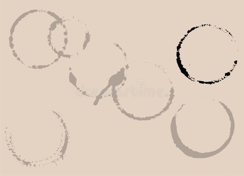 Macchie della tazza di tè o del caffè illustrazione di stock
