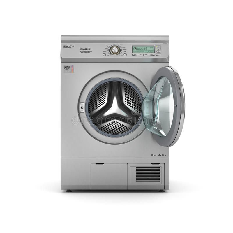 macchina aperta dell'essiccatore su un fondo bianco illustrazione vettoriale