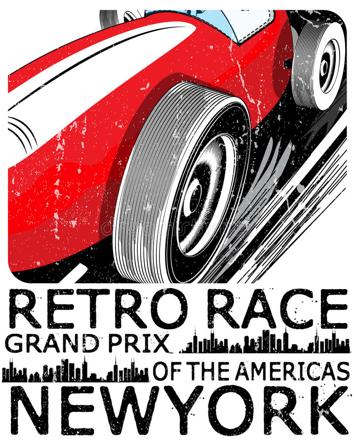 Macchina da corsa d'annata per stampare Manifesto della corsa della vecchia scuola di vettore royalty illustrazione gratis