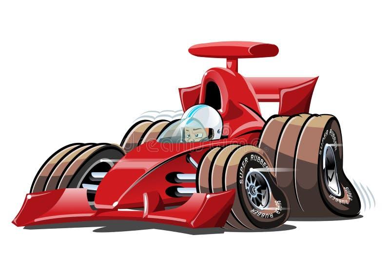 Macchina da corsa di formula 1 del fumetto di vettore isolata su bianco illustrazione vettoriale