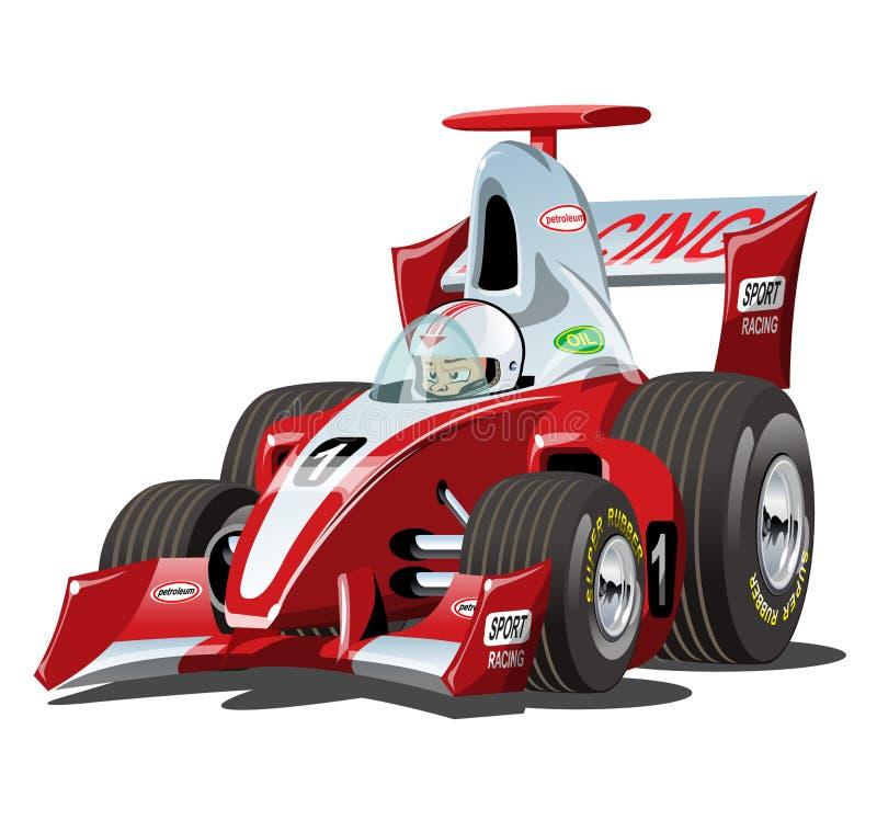 Macchina da corsa di formula 1 del fumetto di vettore isolata su bianco illustrazione di stock