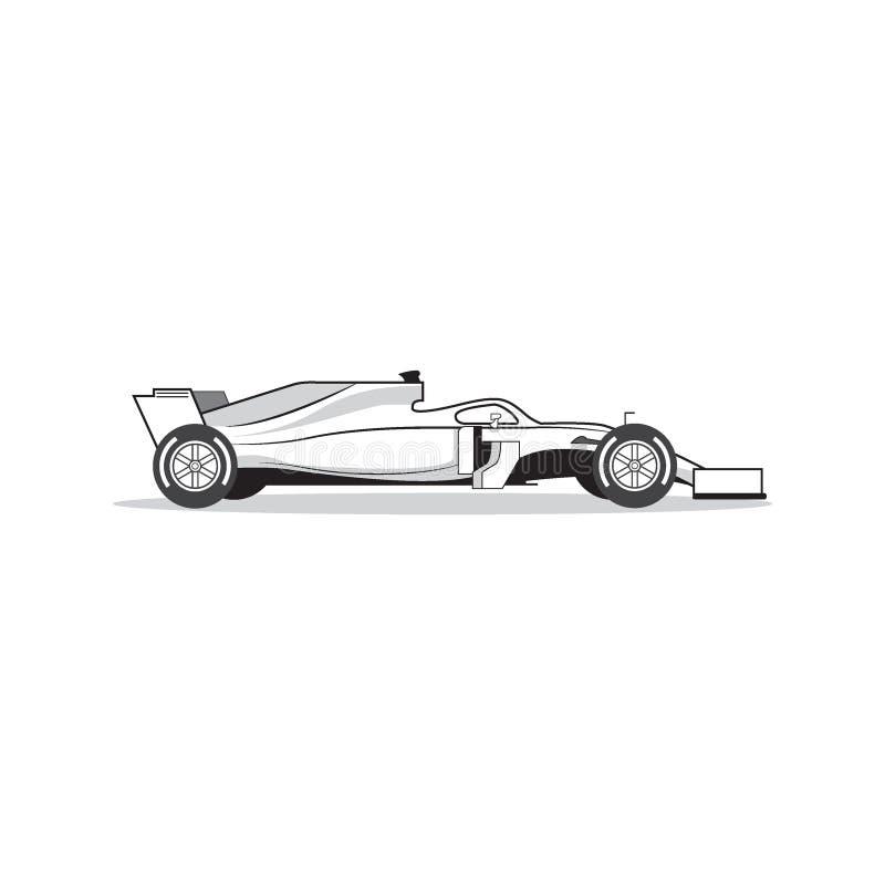 Macchina da corsa di Formula 1 isolata su fondo bianco Vettore immagini stock