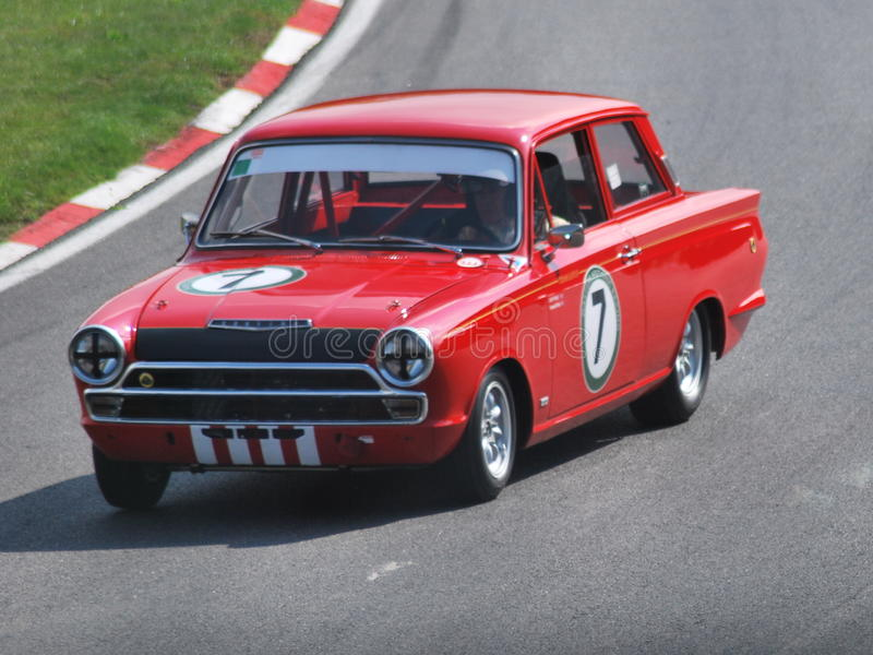 Macchina da corsa di Lotus Cortina Mark One immagine stock