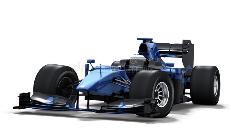 Macchina da corsa su bianco - il nero & azzurro illustrazione di stock