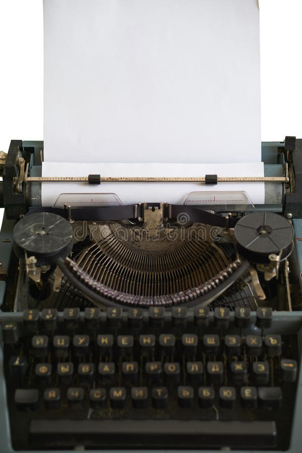 Macchina da scrivere antica con il nastro ed il trasporto immagini stock