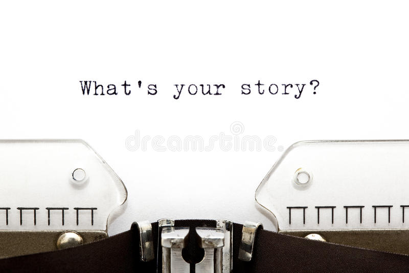 Macchina da scrivere che cosa è la vostra storia immagine stock libera da diritti