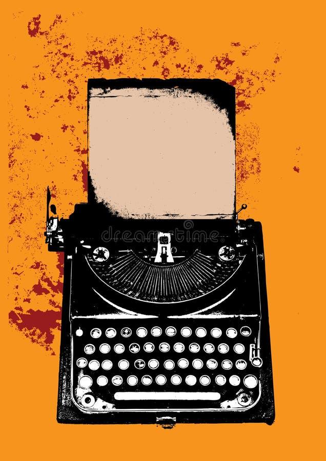 Macchina da scrivere di Grunge con uno strato illustrazione di stock