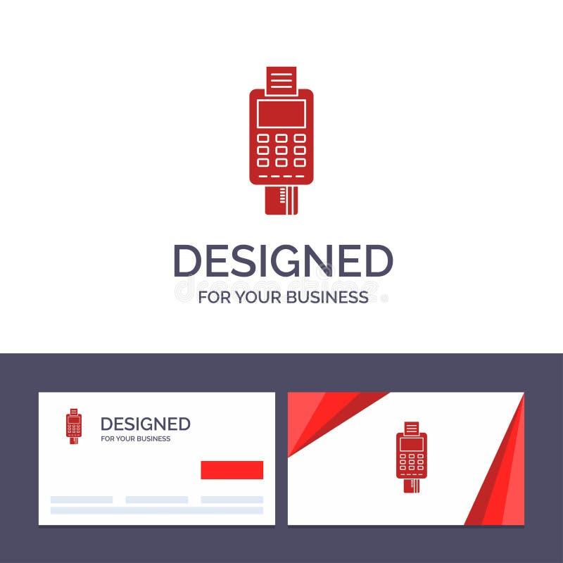 Macchina del modello creativo di logo e del biglietto da visita, affare, carta, controllo, carta di credito, terminale POS di cre royalty illustrazione gratis