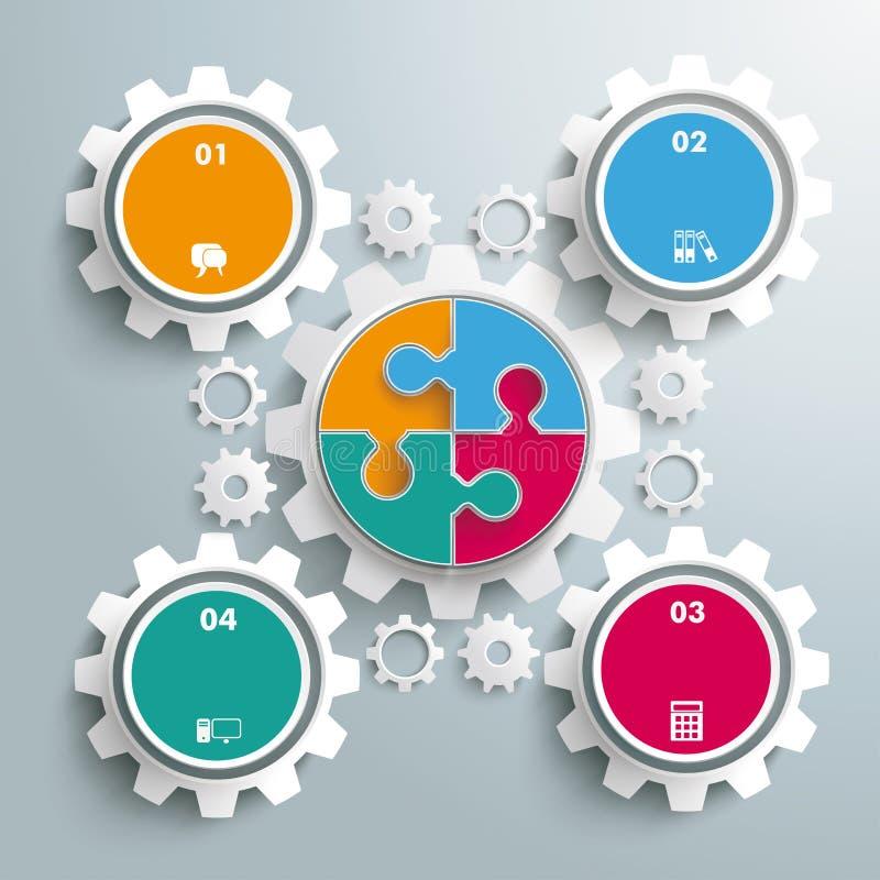 Macchina dell'ingranaggio di puzzle del cerchio colorato grande illustrazione di stock