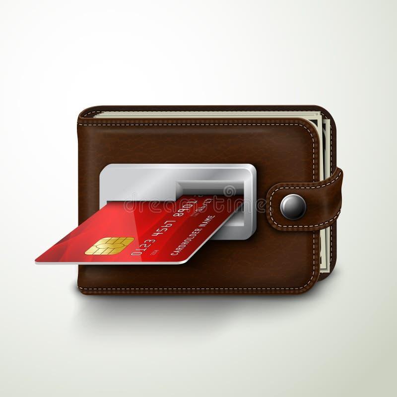 Macchina della banca di bancomat del portafoglio del cuoio di Brown illustrazione di stock