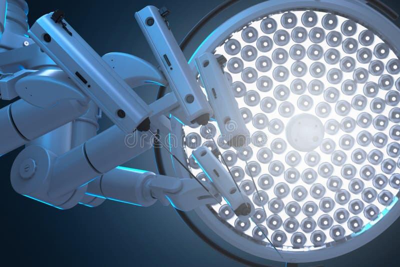 Macchina della chirurgia del robot con le luci della chirurgia royalty illustrazione gratis