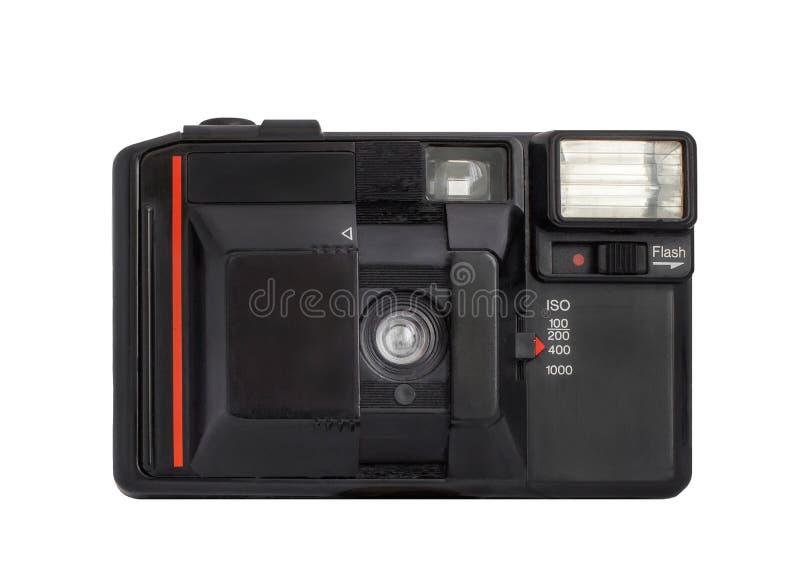 Macchina fotografica analogica compatta moderna sul formato del film 35mm isolata su un fondo bianco fotografia stock