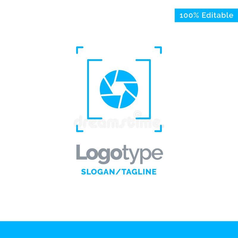 Macchina fotografica, apertura, lente, fotografia Logo Template solido blu Posto per il Tagline illustrazione di stock