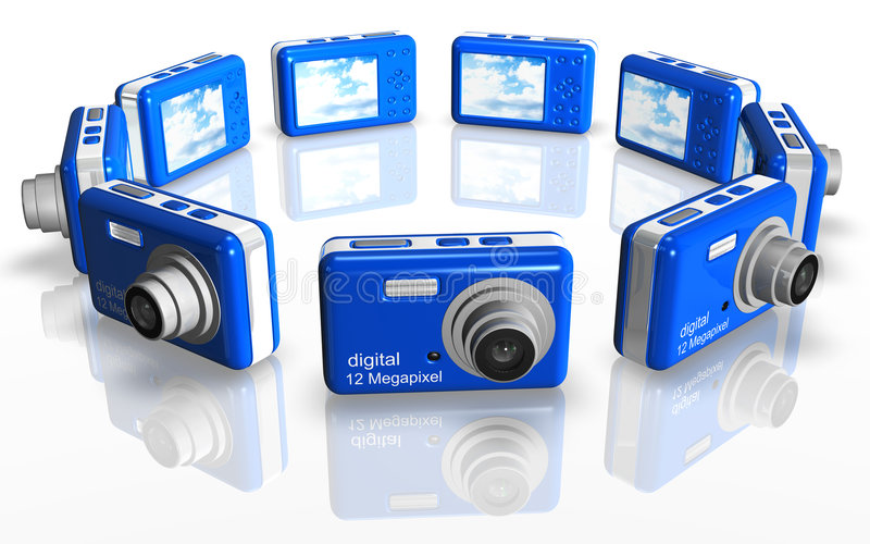 Macchina fotografica compatta blu illustrazione di stock