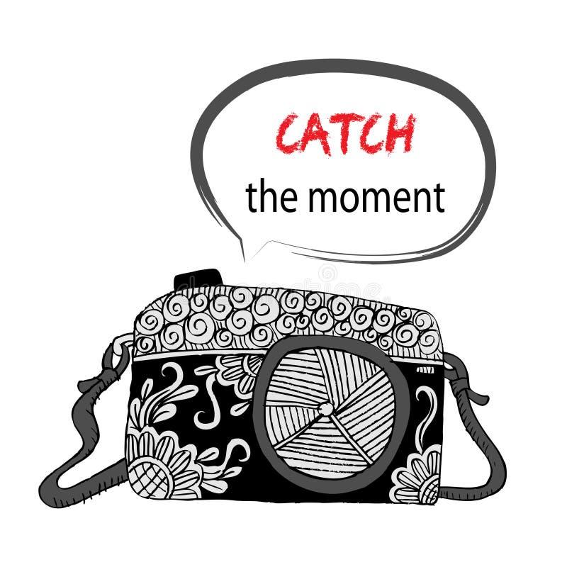 Macchina fotografica con il fermo l'iscrizione di momento illustrazione di stock
