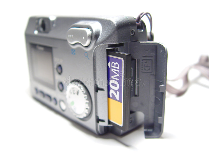 Macchina fotografica con la scheda immagini stock