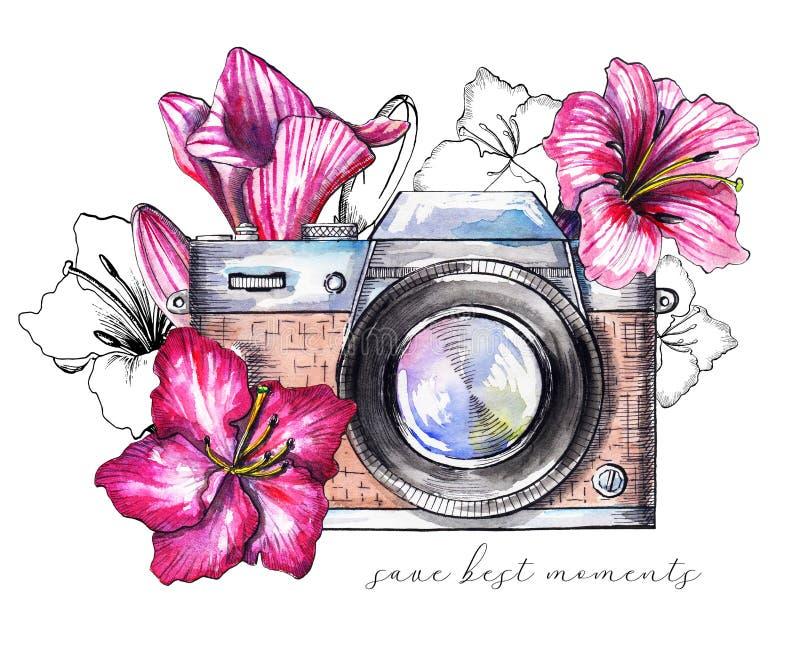 Macchina fotografica d'annata dell'acquerello con i fiori illustrazione di stock