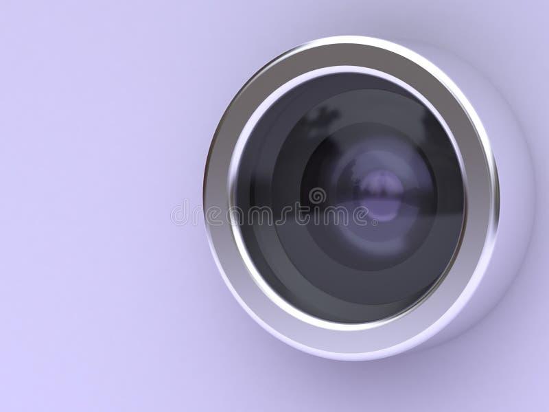 macchina fotografica d'argento della lente del cerchio della rappresentazione porpora del fondo 3d royalty illustrazione gratis