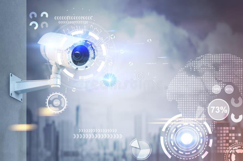 Macchina fotografica del CCTV, HUD in una città royalty illustrazione gratis