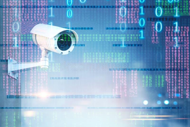 Macchina fotografica del CCTV sopra l'interfaccia di numeri binari illustrazione vettoriale