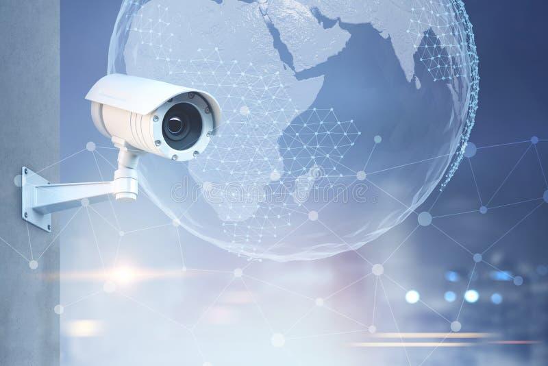 Macchina fotografica del CCTV, terra in un cielo della città illustrazione vettoriale