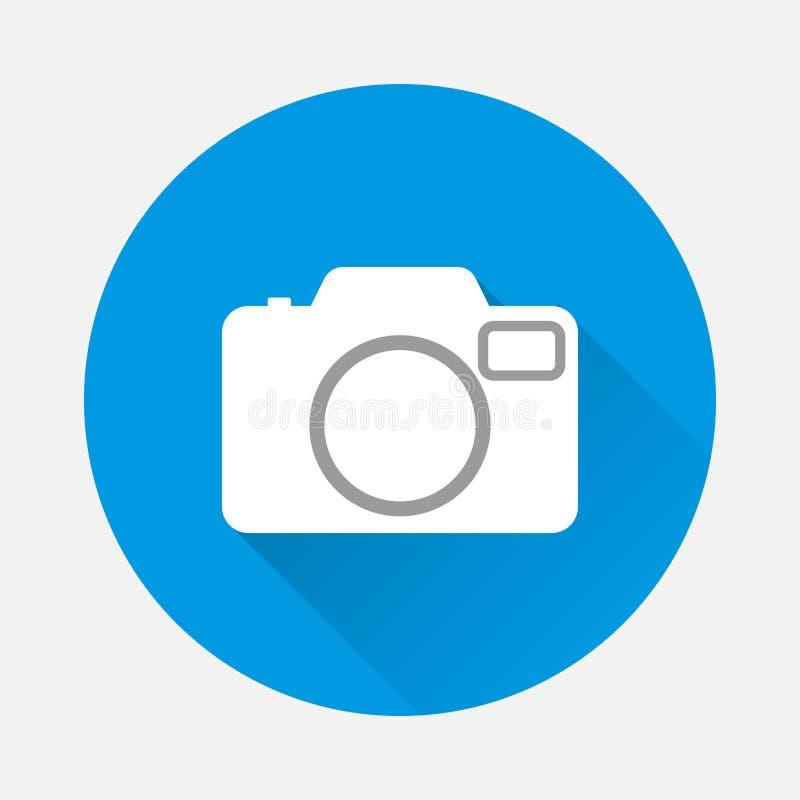 Macchina fotografica dell'icona di vettore retro su fondo blu Macchina fotografica piana w di immagine illustrazione vettoriale
