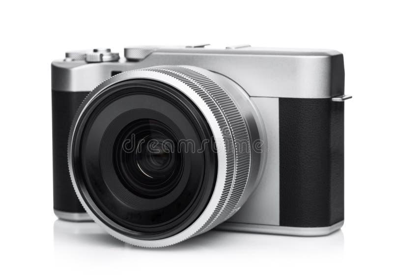 Macchina fotografica della foto di Digital DSLR con la presa di cuoio nera fotografia stock libera da diritti